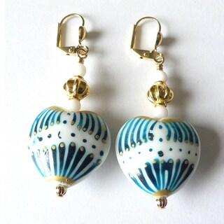 'Elena' Glass Heart Earrings