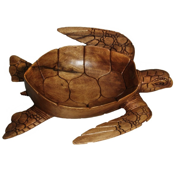 Hand-Carved Wooden Decorative Turtle Bowl (Indonesia)