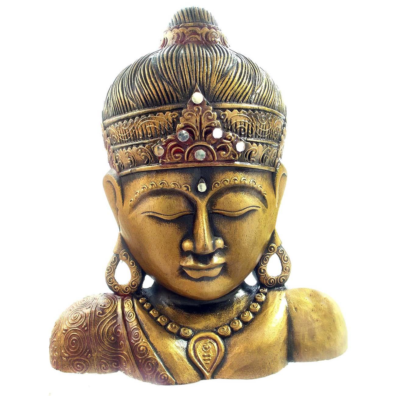 Handmade Wooden Buddha Bust (Indonesia) (Budha statue Dou...