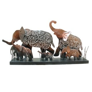 Cut Copper Elephant Family Scene, Handmade in Indonesia