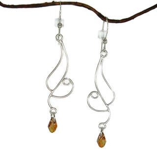 Jewelry by Dawn Long Curved Sterling Silver Earrings With Copper Crystal