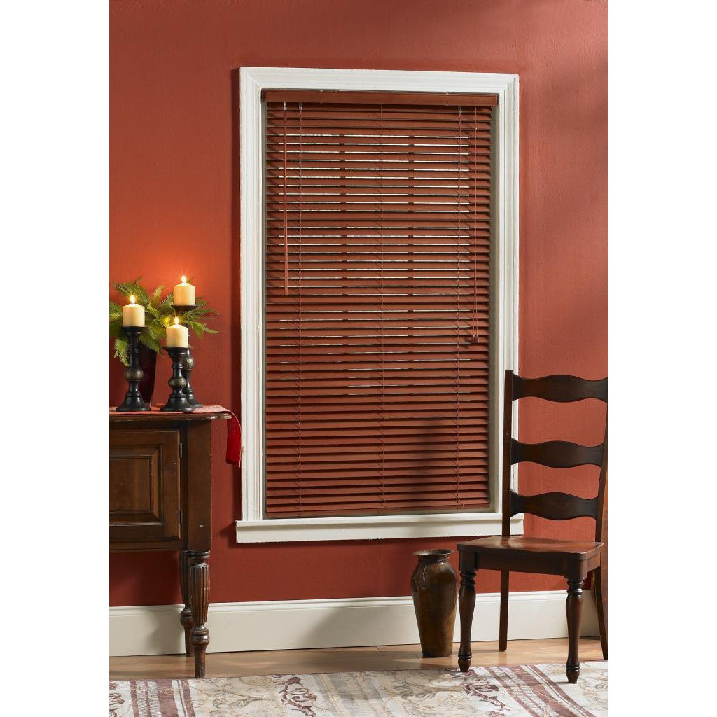 USA Cherry Finished Real Wood Window Blind (34x64), Brown