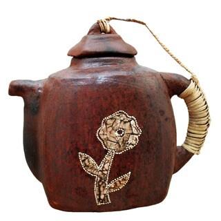 Decorative Square Kotak Terracotta Teapot (Indonesia)