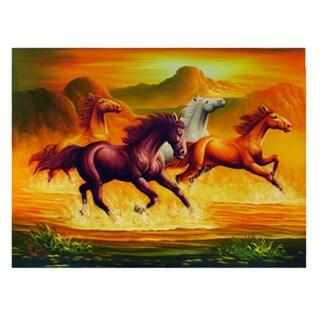 'Horses Galloping' Original Canvas Painting (Indonesia)