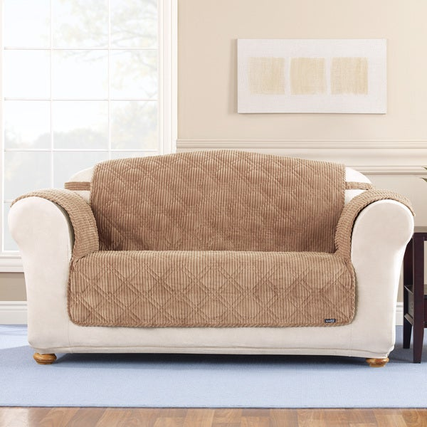 sure fit variegated corduroy camel loveseat slipcover