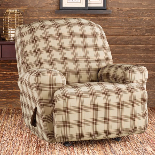 Stretch Belmont Ivory Plaid Recliner Slipcover Free