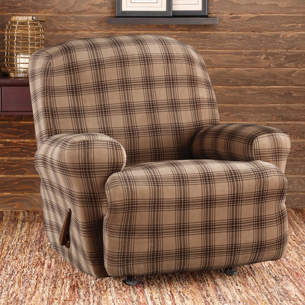 Sure Fit Stretch Belmont Sable Plaid Recliner Slipcover