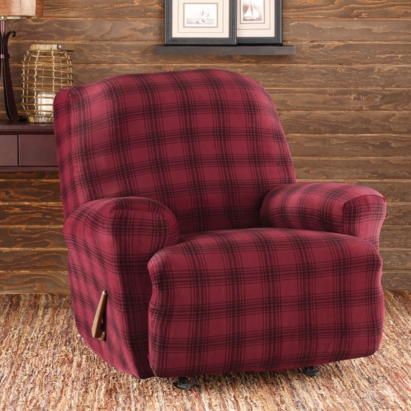 Shop Sure Fit Stretch Belmont Burgundy Plaid Recliner