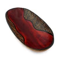Handmade Zebra Oval Bowl (Indonesia)