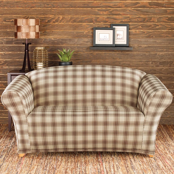 sure fit stretch belmont ivory plaid loveseat slipcover