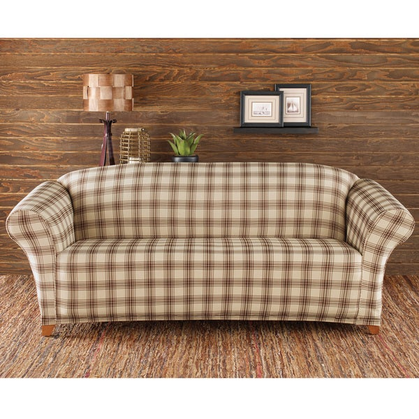 Sure Fit Stretch Belmont Ivory Plaid Sofa Slipcover Free