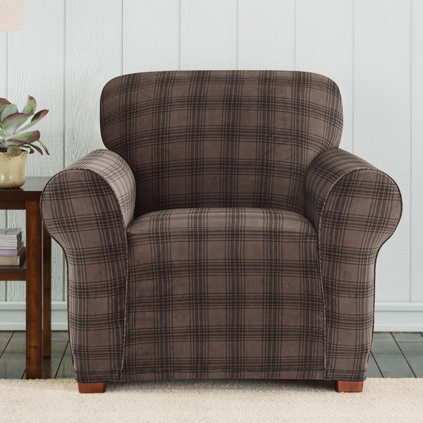 Sure Fit Stretch Belmont Chocolate Plaid Chair Slipcover - Free