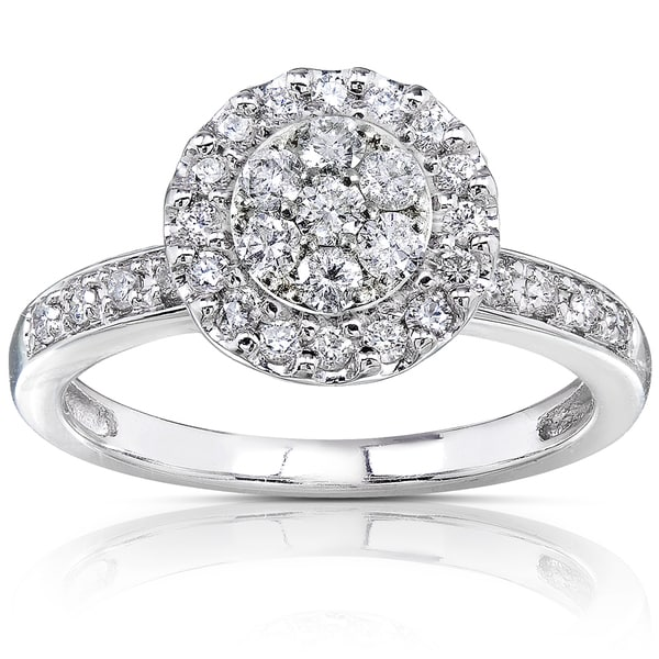 Annello by Kobelli 14k White Gold 1/2ct TDW Diamond Cluster Engagement Ring (H-I, I1-I2)