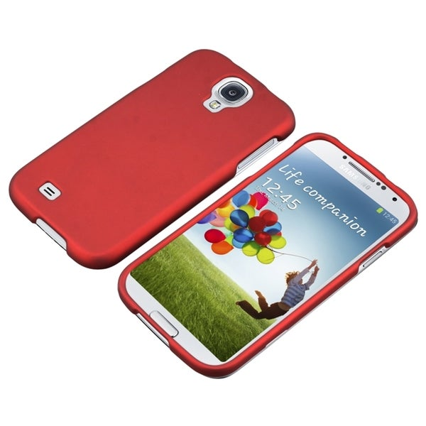 INSTEN Red Rubber Coated Phone Case Cover for Samsung Galaxy S IV/ S4 I9500