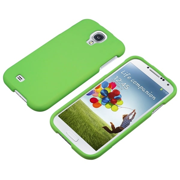 INSTEN Neon Green Rubber Coated Phone Case Cover for Samsung Galaxy S IV/ S4 I9500