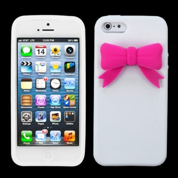 INSTEN White/ Pink Bow Phone Case Cover for Apple iPhone 5/ 5G