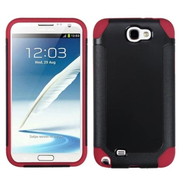 INSTEN Black/ Red Frosted Phone Case Cover for Samsung Galaxy Note II T889/ I605