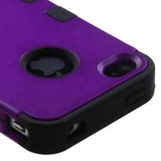 INSTEN Grape/ Black TUFF Hybrid Phone Case Cover for Apple iPhone 4/ 4S