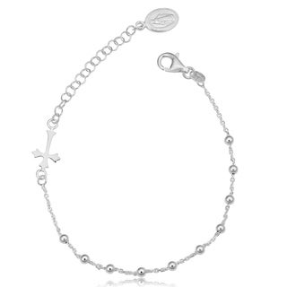 Fremada Sterling Silver Adjustable Saturn Rosary Bracelet (8.5-inch)