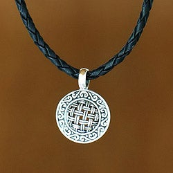 Sterling Silver 'New Classic' Leather Necklace (Indonesia)