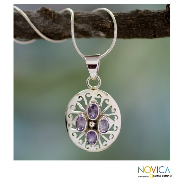 Sterling Silver 'Indian Violets' Amethyst Necklace (India)