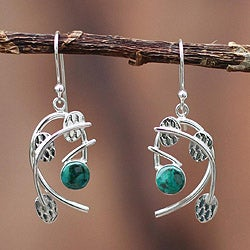 Sterling Silver 'Branches' Chrysocolla Earrings (Peru)