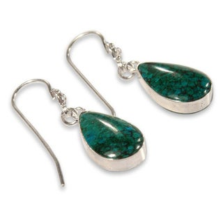 Handmade Sterling Silver 'Inca Aesthetic' Chrysocolla Earrings (Peru)