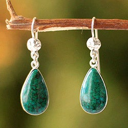 Handmade Sterling Silver 'Inca Aesthetic' Chrysocolla Earrings (Peru)