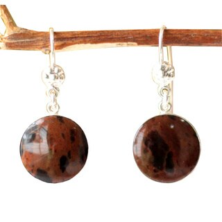 Handmade Sterling Silver 'Inca Moons' Mahogany Obsidian Earrings (Peru)