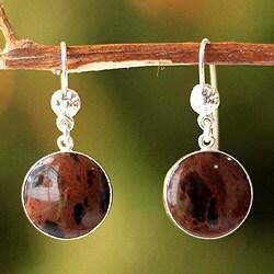 Handmade Sterling Silver 'Inca Moons' Mahogany Obsidian Earrings (Peru)