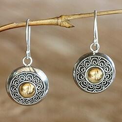 Gold Overlay 'Golden Sunflowers' Earrings (Indonesia)