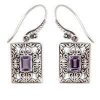 Handmade Sterling Silver 'Mythic Garden' Amethyst Earrings (Indonesia)