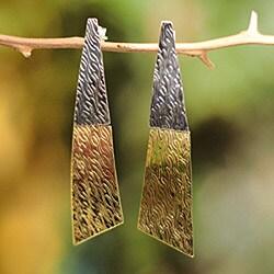 Handmade Sterling Silver and Bronze 'Radiance' Earrings (Peru)