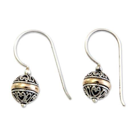 NOVICA Handmade Gold Overlay 'Lampion' Earrings (Indonesia)