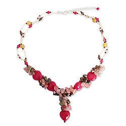 Sterling Silver 'Thai Heartbeat' Multi-gemstone Necklace (Thailand)