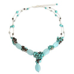 Sterling Silver 'Peaceful Sky' Multi-gemstone Necklace (Thailand)