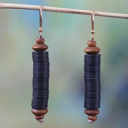 Handcrafted Recycled Plastic Sese Wood 'Paglayiri' Earrings (Ghana)