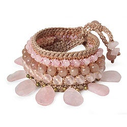 Handmade Rose Quartz and Aventurine 'Dawn Rose' Bracelet (Thailand)