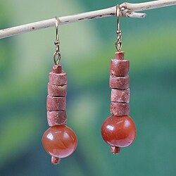 Handcrafted Bauxite and Agate 'Healing Glow' Earrings (Ghana)