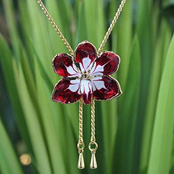 Handmade Gold Overlay 'Scarlet Dancer' Natural Orchid Necklace (Thailand)