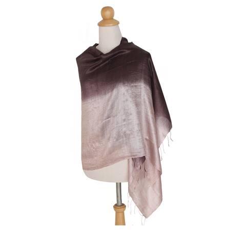 Handmade Silk 'Shimmering Raisin' Shawl (Thailand)