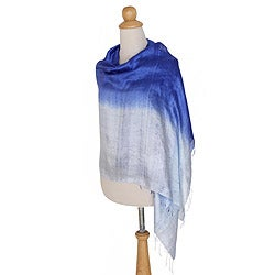 Handcrafted Silk 'Shimmering Sky' Shawl (Thailand)