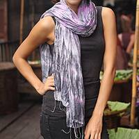 Handmade Rayon Silk 'Smoky Rose' Tie-dyed Scarf (Thailand)