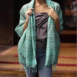 Handcrafted Silk 'Mint Melody' Shawl (Thailand)
