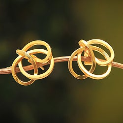 Handcrafted Gold Overlay 'Amazon Knot' Earrings (Peru)