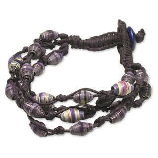 Handmade Recycled Paper and Cotton 'Violet Fest' Bracelet (Guatemala)