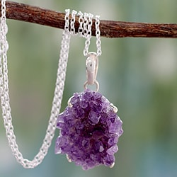 Sterling Silver 'Jaipur Jazz' Amethyst Necklace (India)