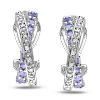 Miadora Silver Tanzanite and 1/10ct TDW Diamond Earrings (H-I, I2-I3)