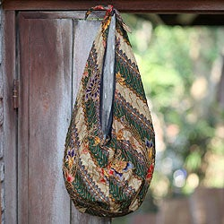 Cotton 'Tropical Feast' Batik Medium Shoulder Bag (Indonesia)