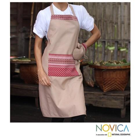 Handmade Cotton 'Kitchen Style' Apron and Oven Mitt (Thailand)